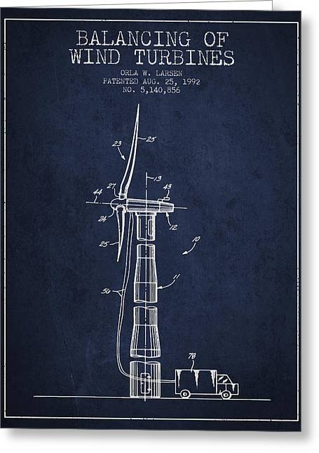 Balancing Of Wind Turbines Patent From 1992 - Navy Blue Greeting Card