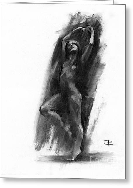 Greeting Card featuring the drawing A Dance Of Balance by Paul Davenport