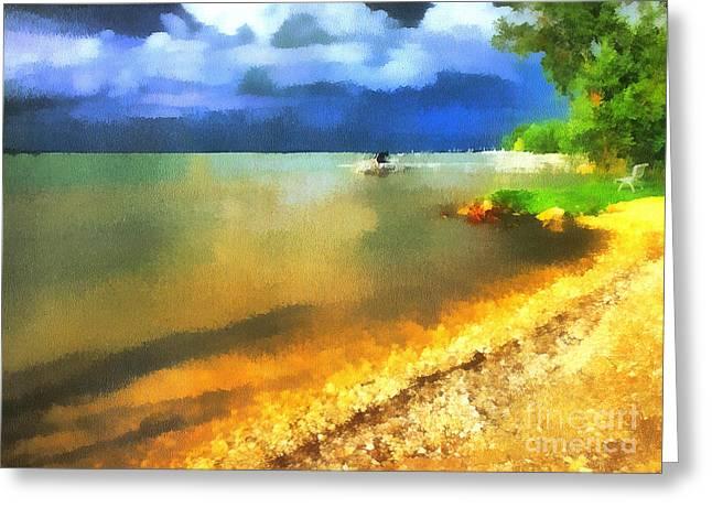 Balaton Shore Greeting Card by Odon Czintos