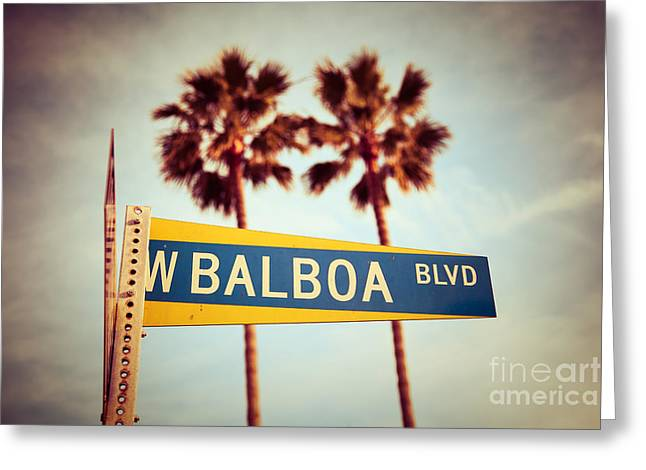 Balboa Blvd Street Sign Newport Beach Photo Greeting Card by Paul Velgos