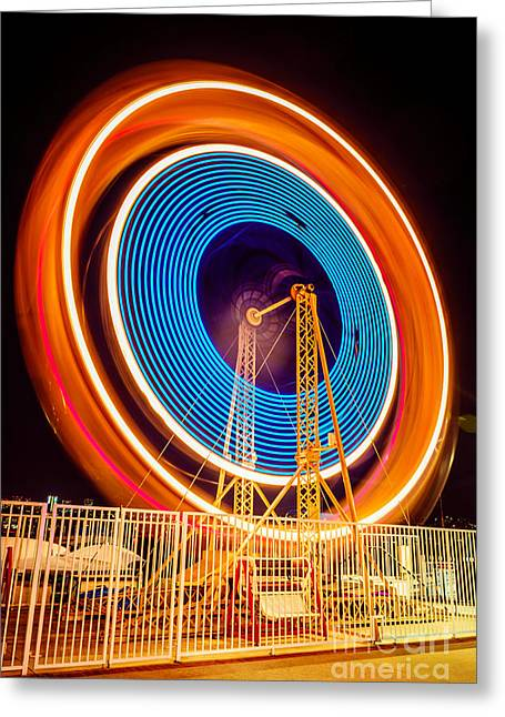Balboa Fun Zone Ferris Wheel At Night Picture Greeting Card by Paul Velgos