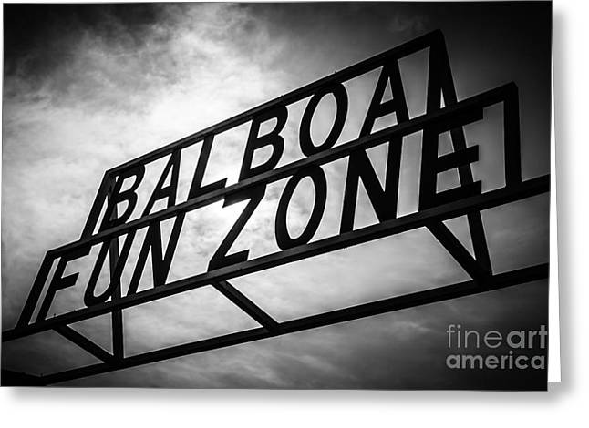 Balboa Fun Zone Sign Picture Newport Beach Greeting Card by Paul Velgos