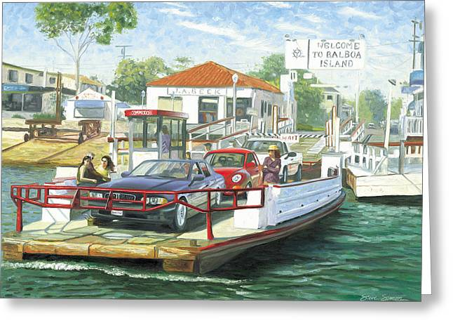 Balboa Island Ferry Greeting Card by Steve Simon
