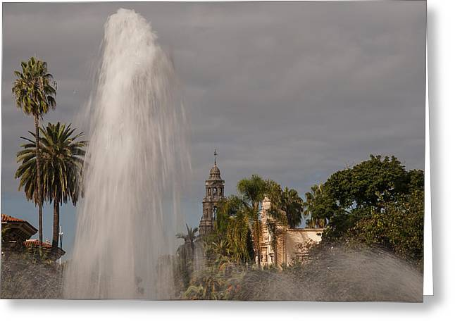Balboa Park Fountain And California Tower Greeting Card