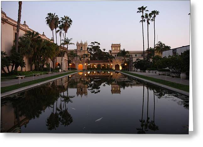 Greeting Card featuring the photograph Balboa Park Reflection Pool by Nathan Rupert