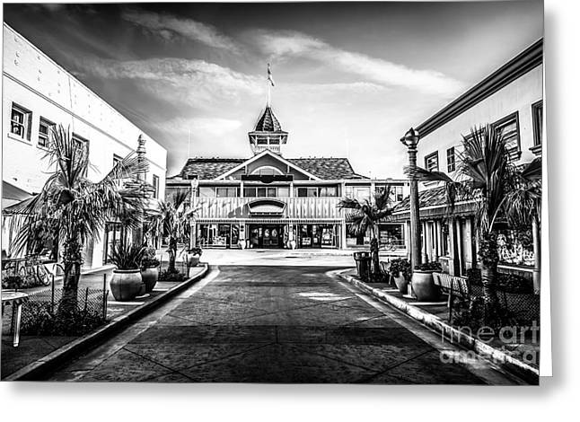 Balboa Pavilion Newport Beach Black And White Picture Greeting Card