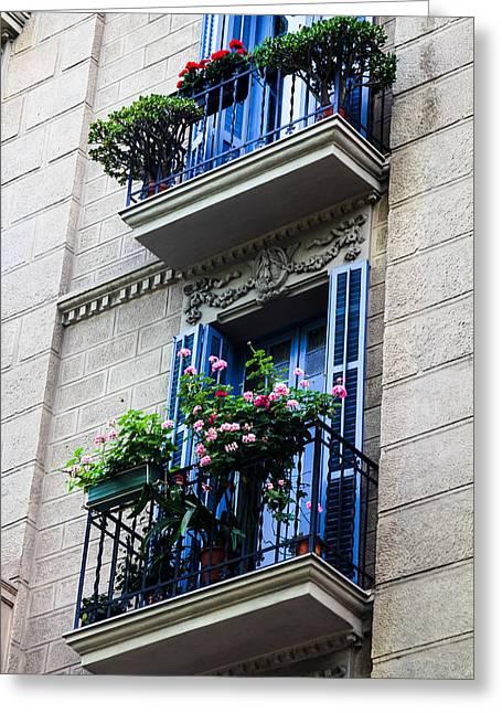Balconies In Bloom Greeting Card by Menachem Ganon