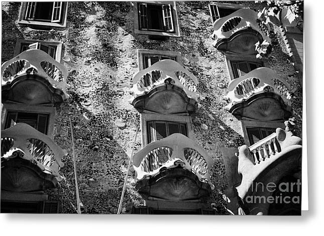 balconies on casa batllo modernisme style building in Barcelona Catalonia Spain Greeting Card