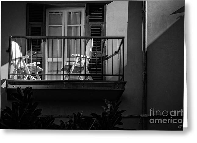 Balcony Bathed In Sunlight Greeting Card