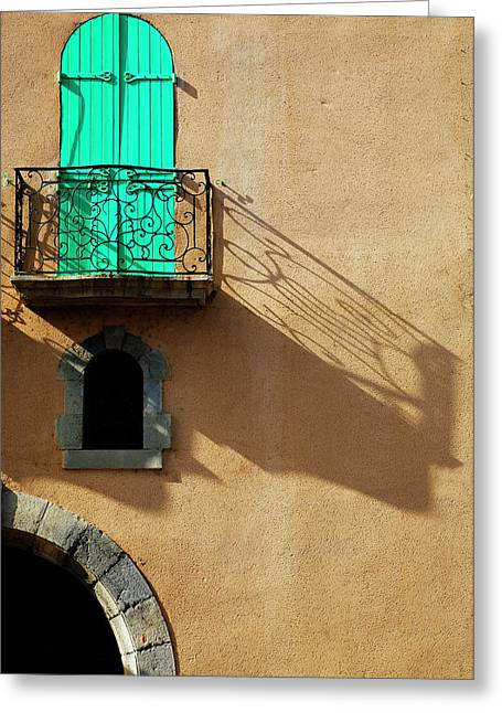 Balcony In A Collioure Street, Fishing Greeting Card