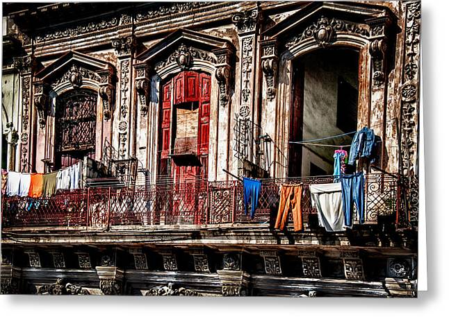 Balcony In Old Havana  Greeting Card