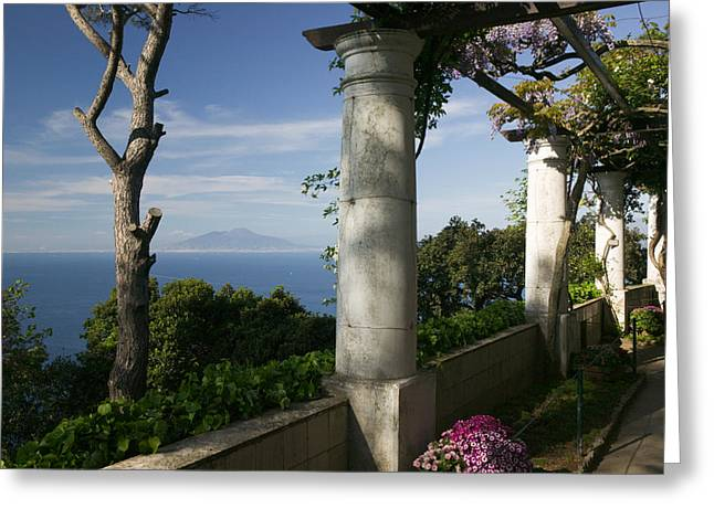 Balcony Overlooking The Sea, Villa San Greeting Card