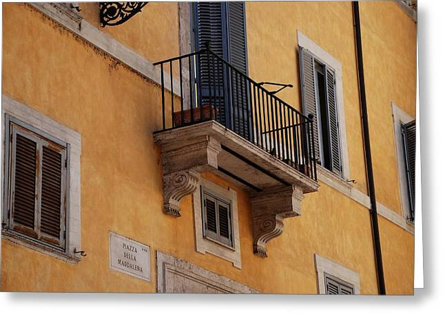 Greeting Card featuring the photograph Balcony Piazza Della Madallena In Roma by Dany Lison