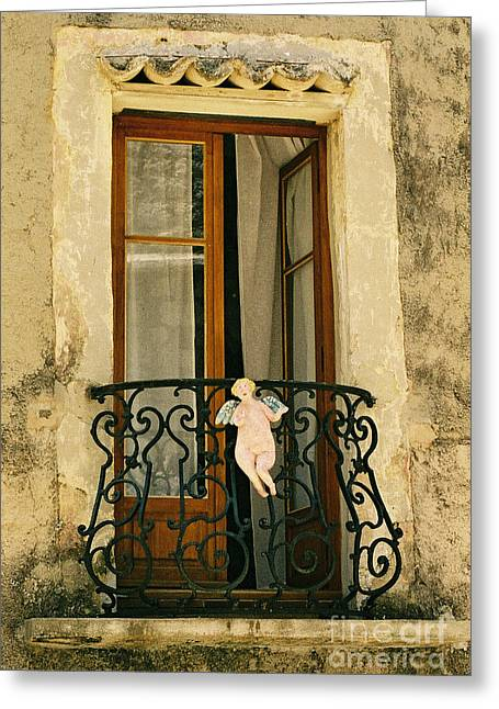 Balcony With Angel, France Greeting Card by Holly C. Freeman