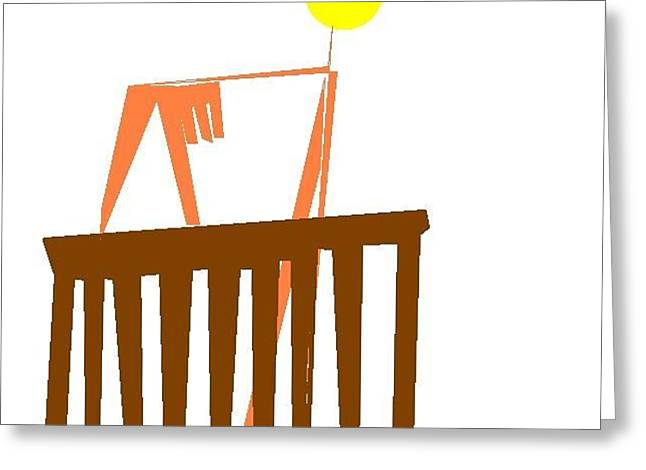 Bald Bailiff Playing With Fingers On Court Banister Greeting Card by Dan Smith