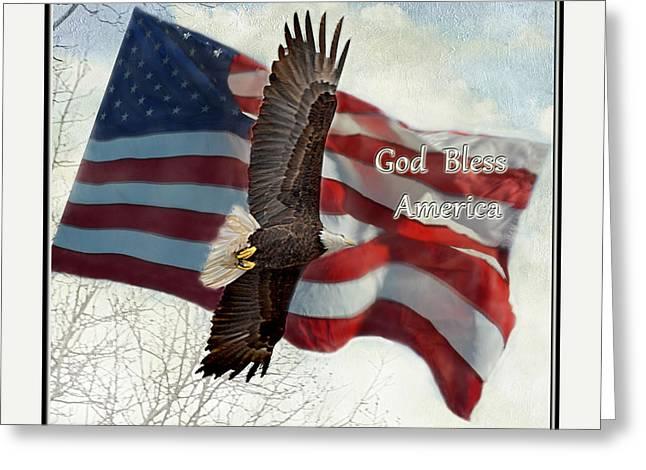 Bald Eagle  God Bless America Greeting Card by Debbie Portwood