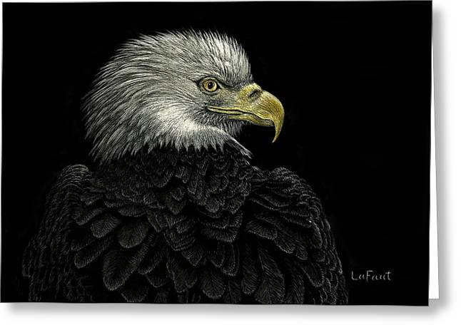 Greeting Card featuring the drawing American Bald Eagle by Sandra LaFaut