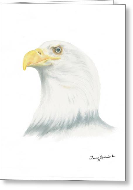 Greeting Card featuring the drawing Bald Eagle by Terry Frederick
