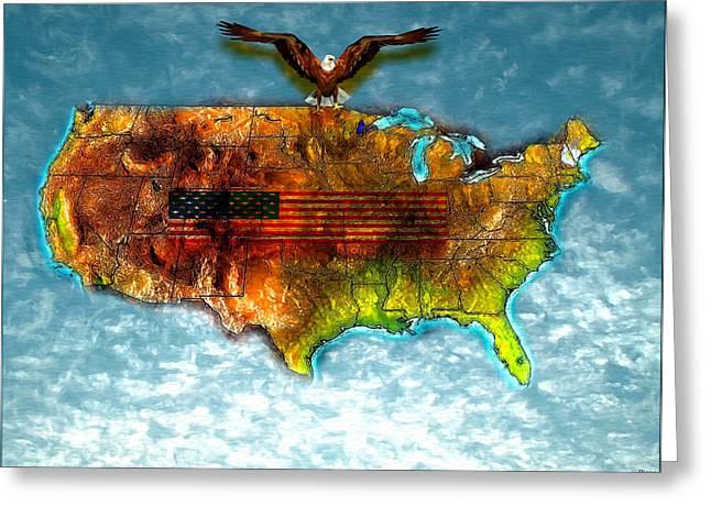 Bald Eagle U.s. Map Greeting Card by Daniel Janda