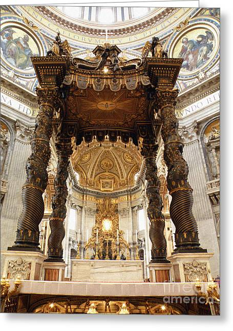 Baldacchino Di San Pietro Greeting Card by Eva Kaufman