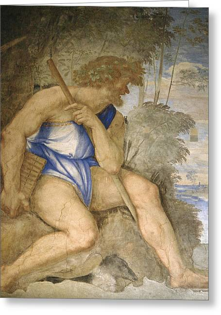 Baldassare Peruzzi 1481-1536. Italian Architect And Painter. Villa Farnesina. Polyphemus. Rome Greeting Card by Baldassarre Peruzzi