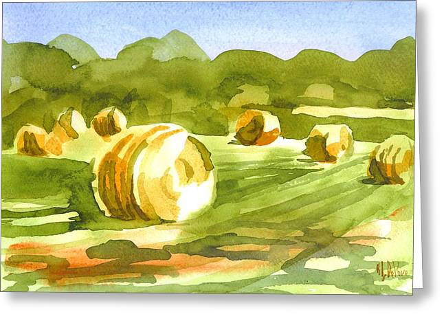 Bales In The Morning Sun Greeting Card