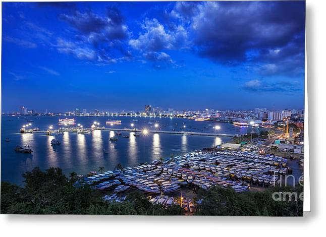Bali Hai Pier Where All Tourist Have To Take To Boat To Famous L Greeting Card by Anek Suwannaphoom