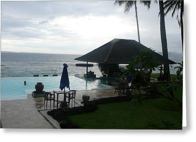 Bali Pool By The Ocean Greeting Card by Jack Edson Adams