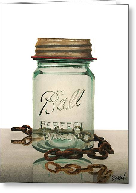 Greeting Card featuring the painting Ball And Chain by Ferrel Cordle