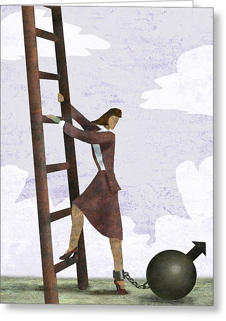 Ball And Chain Greeting Card by Steve Dininno