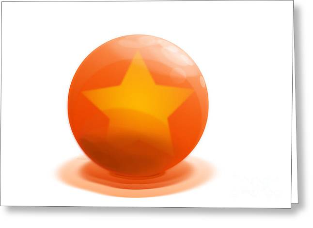 Greeting Card featuring the sculpture orange Ball decorated with star white background by R Muirhead Art