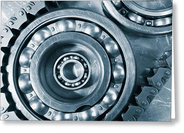 Ball-bearings Titanium And Steel Greeting Card by Christian Lagereek