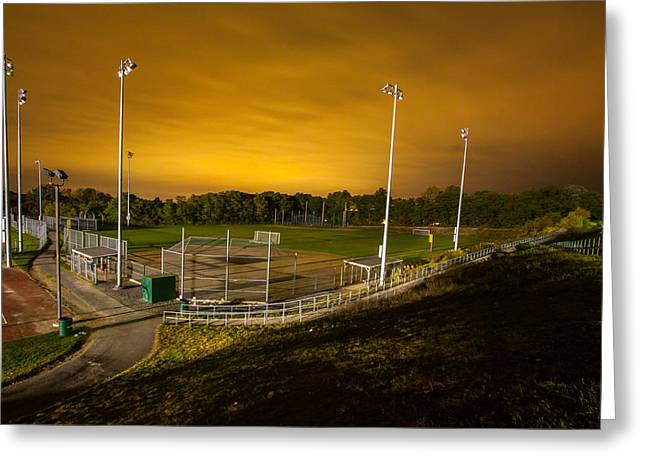 Ball Field At Night Greeting Card by Brian MacLean