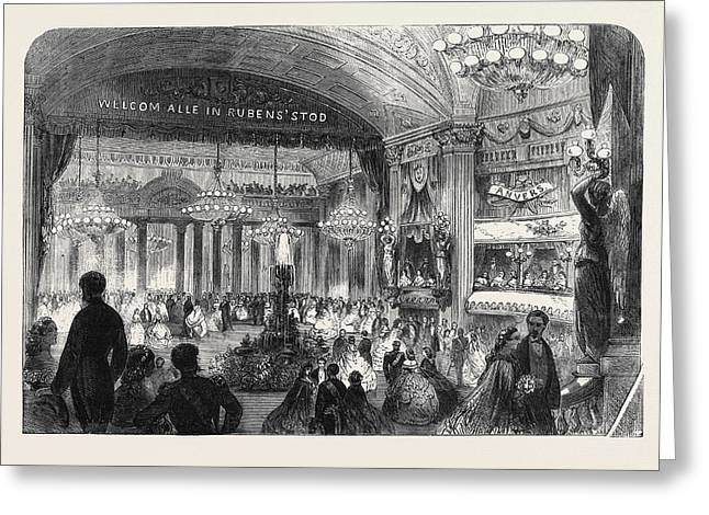 Ball Given In The Theatre At Antwerp On The Occasion Greeting Card by English School