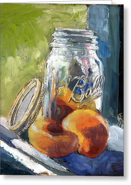 Ball Jar And Peaches Greeting Card