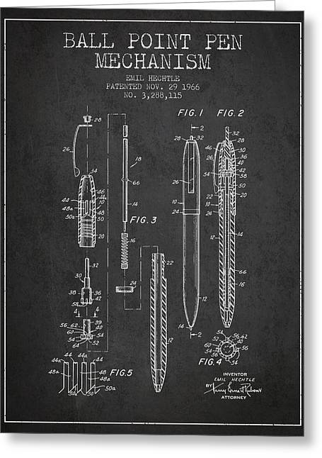 Ball Point Pen Mechansim Patent From 1966 - Charcoal Greeting Card