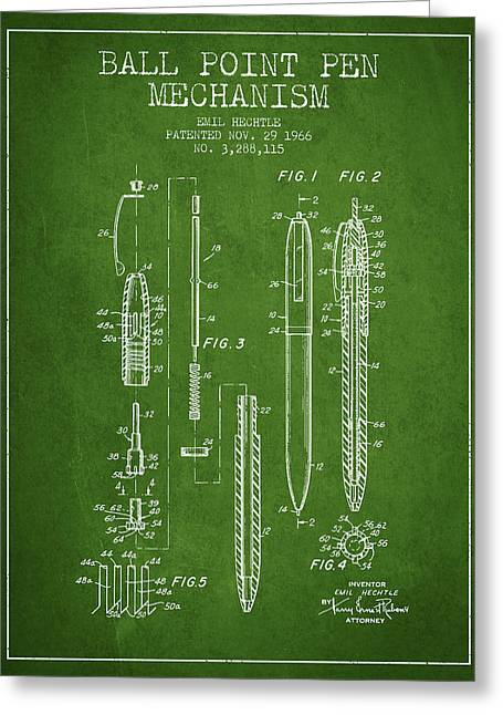 Ball Point Pen Mechansim Patent From 1966 - Green Greeting Card
