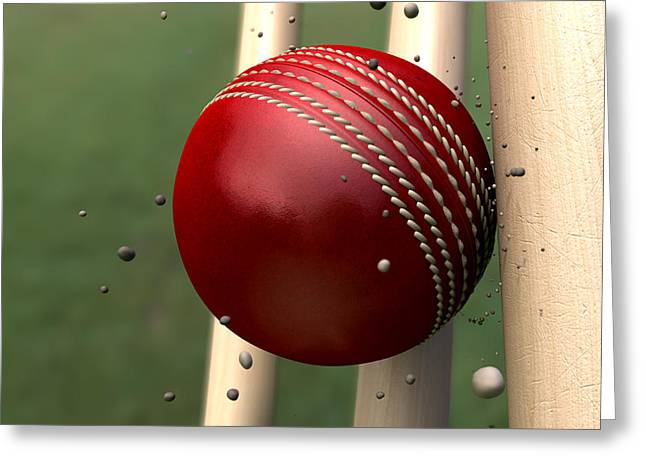 Ball Striking Wickets Greeting Card by Allan Swart