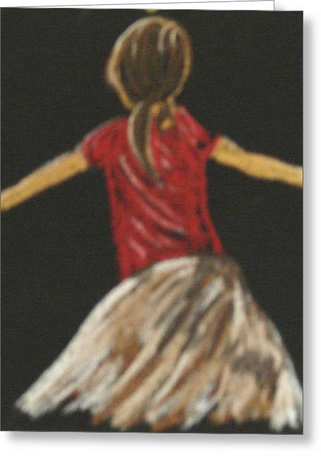 Greeting Card featuring the drawing Ballarina 1 In Red by Joseph Hawkins