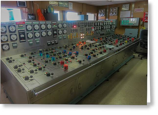 Ballast Control Panel Of The Ocean Valiant Semi Submersible Drilling Rig Greeting Card