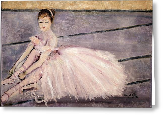 Greeting Card featuring the painting Ballerina by Aleezah Selinger