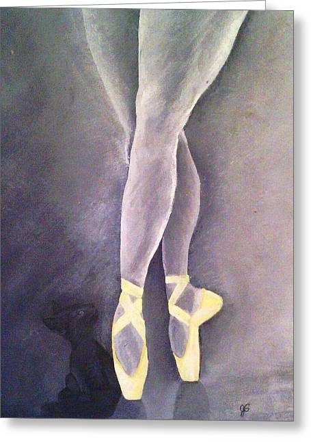 Ballerina And Kitten Greeting Card by Joy Gilley