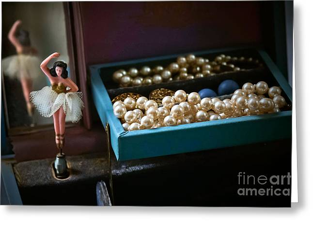 Ballerina And Pearls Greeting Card by Bobbi Feasel