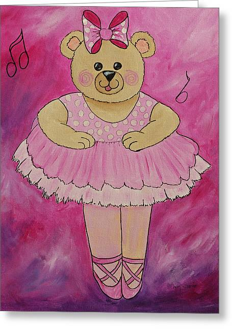 Ballerina Bear In Pink Greeting Card by Kenny Francis