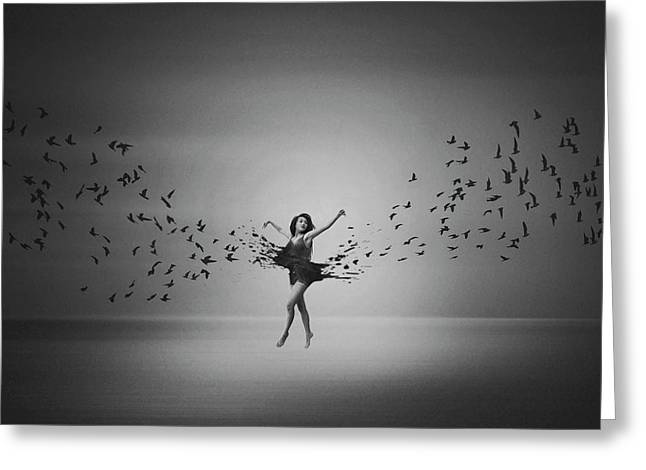 Ballerina Flight Of Birds Greeting Card