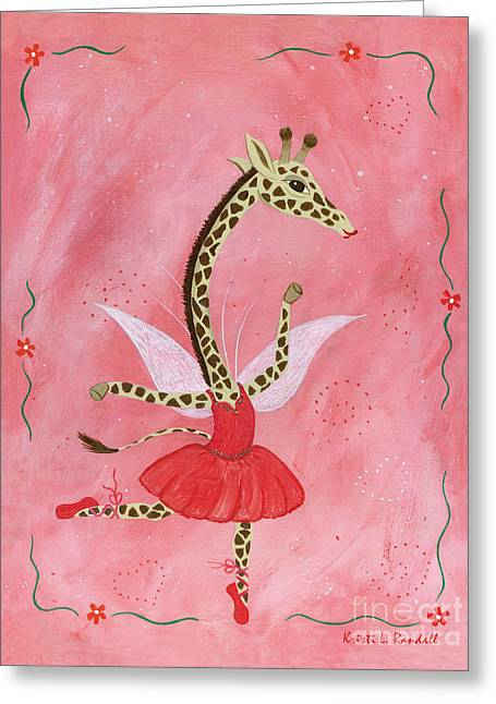Ballerina Giraffe Girls Room Art Greeting Card by Kristi L Randall Brooklyn Alien Art