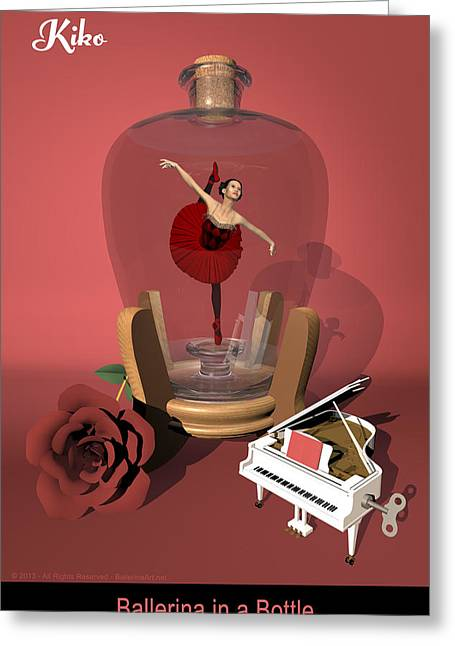 Ballerina In A Bottle - Kiko Greeting Card by Andre Price