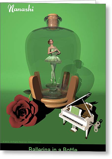Ballerina In A Bottle - Nanashi Greeting Card by Alfred Price