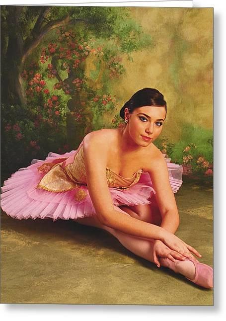 Ballerina In The Rose Garden Greeting Card