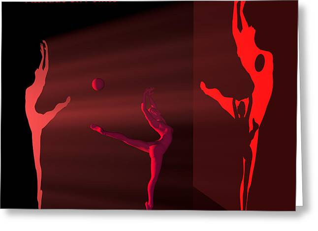 Ballerina Light Art - Red Greeting Card by Andre Price